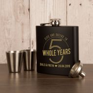 5th Wedding Anniversary Personalised 6oz Steel Hipflask