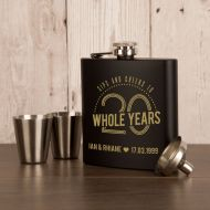 Personalised 20th Wedding Anniversary Engraved Hipflask