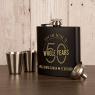 Personalised Engraved 50th Anniversary Hip Flask Set