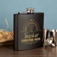 Teacher Personalised Engraved 6oz Hipflask Gift Set