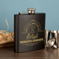 Engraved Hipflask Gift Set for Artists. Personalised Occupation Presentation Present