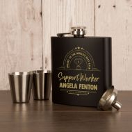 Laser Engraved Support Worker Gift Boxed Hipflask