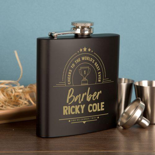 Customised Barber Engraved Black Hip Flask Gift Set