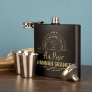 Au Pair Gift Idea. Presentation Boxed Engraved Hipflask