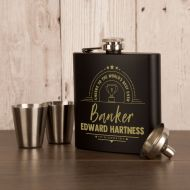 Bank Worker Occupation Personalised Hipflask Gift Set Gift
