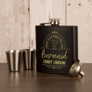 Matte Black Personalised Engraved Barmaid Hipflask Gift Set
