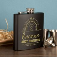 Personalised Barman Themed Engraved Hipflask Giftset
