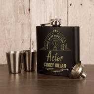 Actor Gift Idea. Presentation Boxed Engraved Hipflask