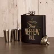 Personalised Star Nephew Hip Flask