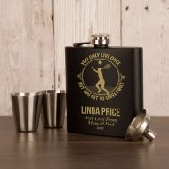 Female Tennis Player Personalised Engraved Hipflask