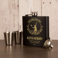 Male Tennis Player Engraved Hipflask Gift Set