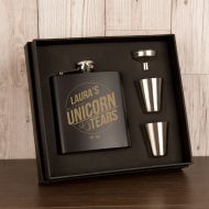 Unicorn Tears Personalised Hip Flask Gift Set