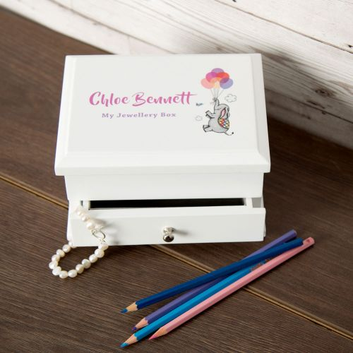 White Jewellery Box for a Little Girl. Elephant with Balloons Design