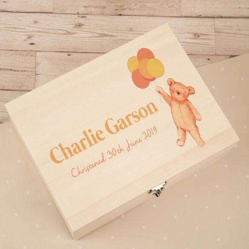 Personalised Teddy with Balloons Wooden Keepsake Box with hinged lid and clasp