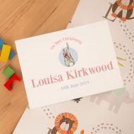 Baby Girl Christening Keepsake Box. Custom Rabbit Design