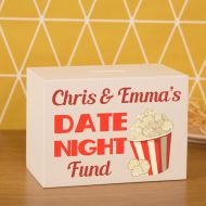 Personalised Night out Savings Box. Date Night Wooden Money Box