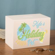 Personalised Holiday Money Pot. Customised Travelling Gift Idea. White Wooden Savings Box.