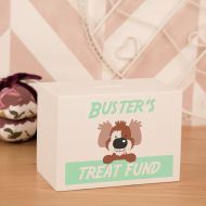 Personalized Dog Treat Money Fund. White Wooden Puppy Savings Box. New Dog Owner Present Idea.