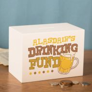 Personalized Drinking Money Box. Beer Drinking Savings Bank. Personalised White Wooden Savings Box.