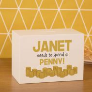 Spend a Penny White Wooden Money Box. Gold Coin Custom Design. Personalised with Recipients Name.