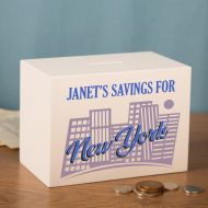 New York Savings Fund Personalised Wooden Money Box. Personalised Holiday Fund for Him or Her.