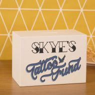 Personalised Tattoo Savings Box. Tattoo Coin Box for Him or Her. Wooden White Cash Box for New Inkwork.