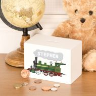 Steam Train Customized Wooden Money Box for little Boy or Girl
