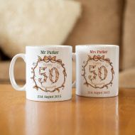Personalised 50th Wedding Anniversary Mug Set