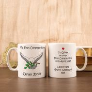 Personalised First Holy Communion Mug: Dove Design