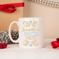 Personalised Naughty & Nice Christmas Mug