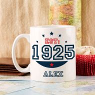 Personalised 90th Birthday Est Mug For Him