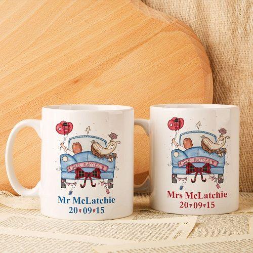 Personalised Scottish Wedding Mug Set