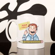 Personalised Male Receptionist Drinking Mug