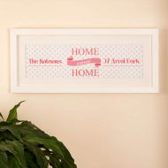Home Sweet Home Personalised Frame: Pink with Polka Dots