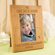 First Day of School Engraved Oak Frame