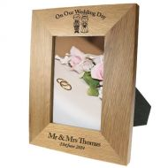 Portrait Oak Frame: Scottish Bride & Groom