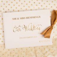 Personalised Gold Foil Printed Wedding Keepsake Guest Book