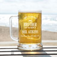 Laser Engraved Brother of the Groom Wedding Beer Tankard