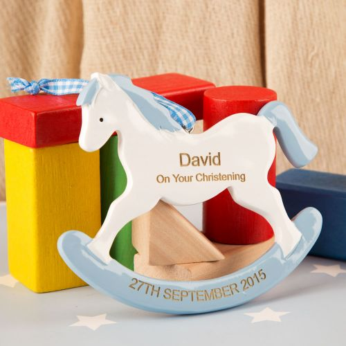 Christening Rocking Horse Ornament. Boy