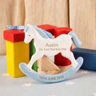 Naming Day Rocking Horse Ornament. Boy