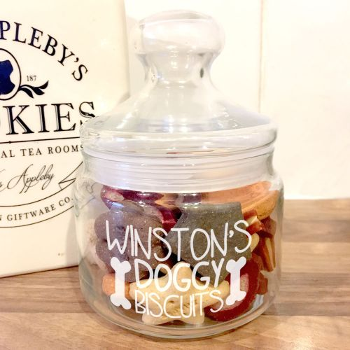 Doggy Biscuit Personalised Glass Treat Jar