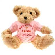 Personalised Christmas Light Brown Teddy Bear