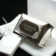 Silver Plated Engraved Trinket Box