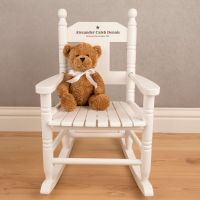Engraved White Wooden Rocking Chair