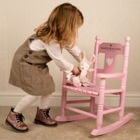Baby Girl  Engraved Pink Rocking Chair