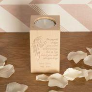 Angel Wings Wooden T-Light Personalised Memorial Gift