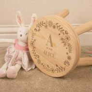 Personalised Engraved Girl Alphabet Wooden Stool.