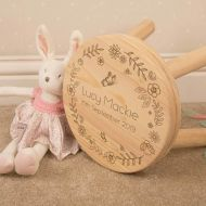 Decorative Floral Garden Child Name Stool for a Little Girl