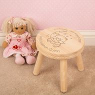 Laser Engraved Baby Bear and Moon Child Wooden Stool
