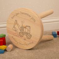 Engraved Digger Design Wooden Child Stool